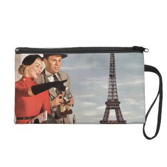 Vintage Paris - Eiffel Tower Wristlet Clutch