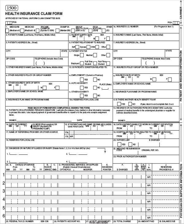 Health insurance claim form - insurance
