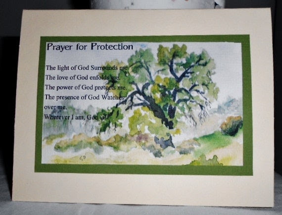 Ivory PRAYER FOR PROTECTION Inspirational greeting card Free Shipping