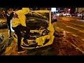 VIDEO Accident la Hotelul Bucovina din Suceava. Două mașini s-au ciocnit frontal