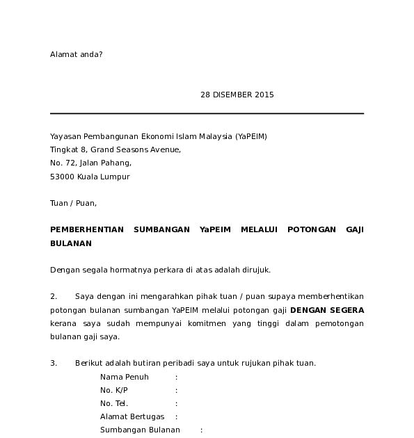 Contoh Surat Potongan Gaji Tabung Haji