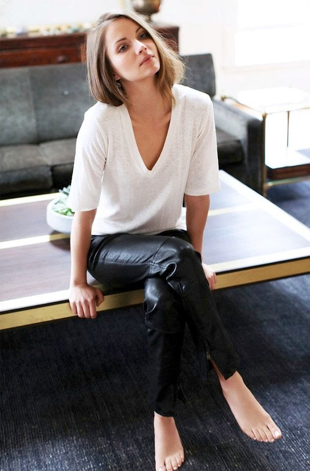 Le Fashion Blog Classic White Tee Black Leather Pants Casual Effortless Style Via Emerson Fry