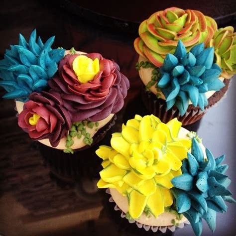 Buttercream Succulent Cupcakes by Tasteful Cakes