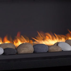 Natural Gas Fireplace Contemporary Open Hearth Free Standing