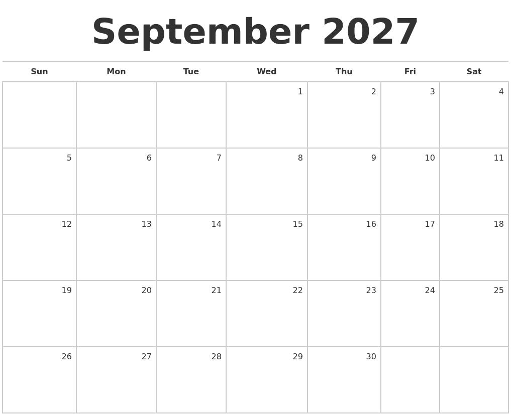 september 2027 blank monthly calendar