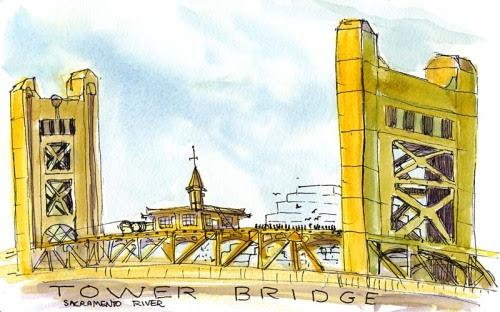 Tower Bridge over Sacramento River, ink & watercolor