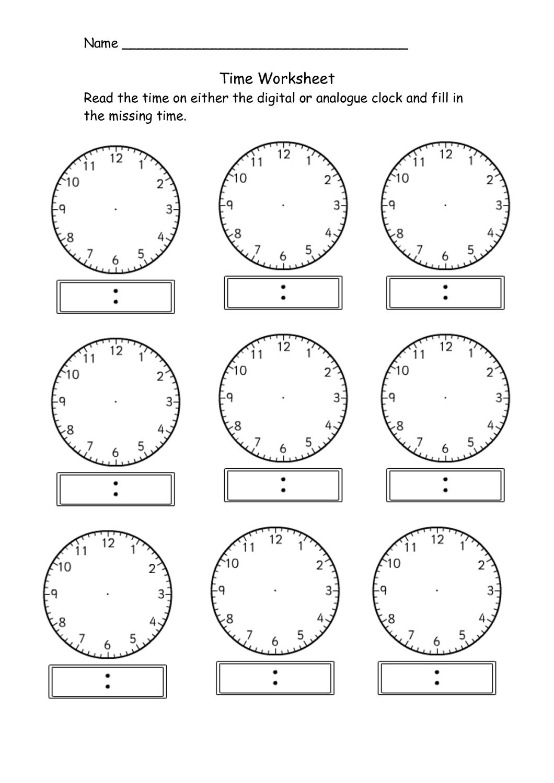 blank clock worksheet printable
