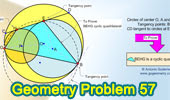 Problema de Geometría 57: Circunferencias, Tangentes, Cuerda, Puntos de tangencia, Cuadrilátero inscriptible.