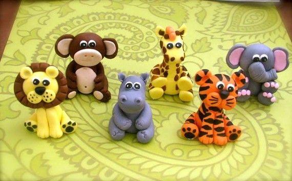 Edible 3D Fondant Jungle Safari animal set -(6)- Jungle Animals ...