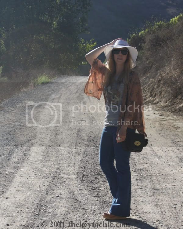 Forever 21 hummingbird kimono, flared jeans, floppy hat, Swedish Hasbeens for H&M wedges, Mulberry for Target crossbody handbag, southern California fashion blog