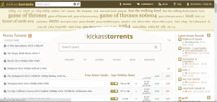 KickassTorrents back online, new clone site askes users to sign a petition to free owner Artem Vaulin