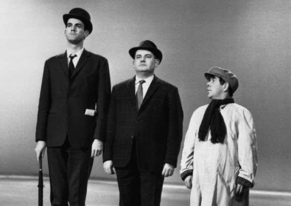 John Cleese, Ronnie Barker and Ronnie Corbett in the classic class sketch.