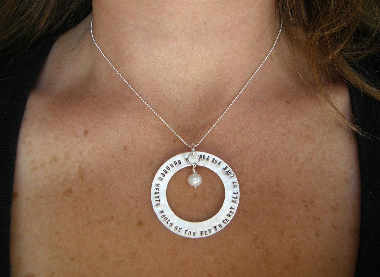 A HUNDRED HEARTS  Handstamped Necklace
