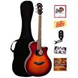 Yamaha APX700 Thinline Cutaway Acoustic-Electric Guitar Bundle with Gig Bag, Tuner, Instructional DVD, Strings...