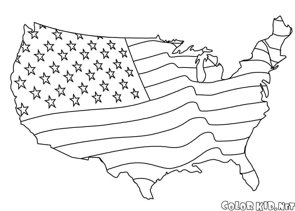 Boyama Sayfası Amerikan Bayrağı Harita
