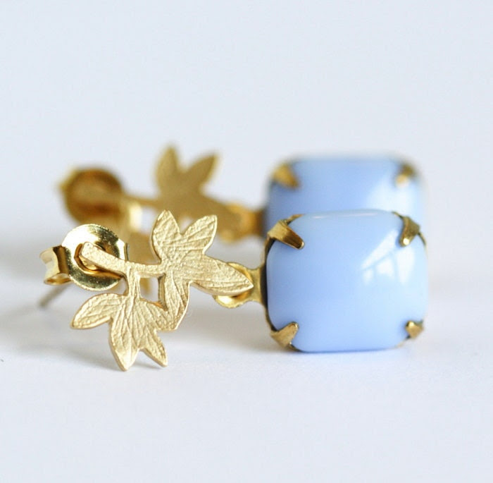 Free Shipping - Gold Palm Leaf and Vintage Cornflower Blue Jewel Earrings