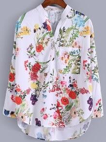 Multicolor V Neck Dip Hem Floral Print Blouse