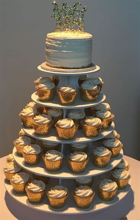 Cupcake Tower with Gold Wrappers. 50 Cupcakes and 6inch