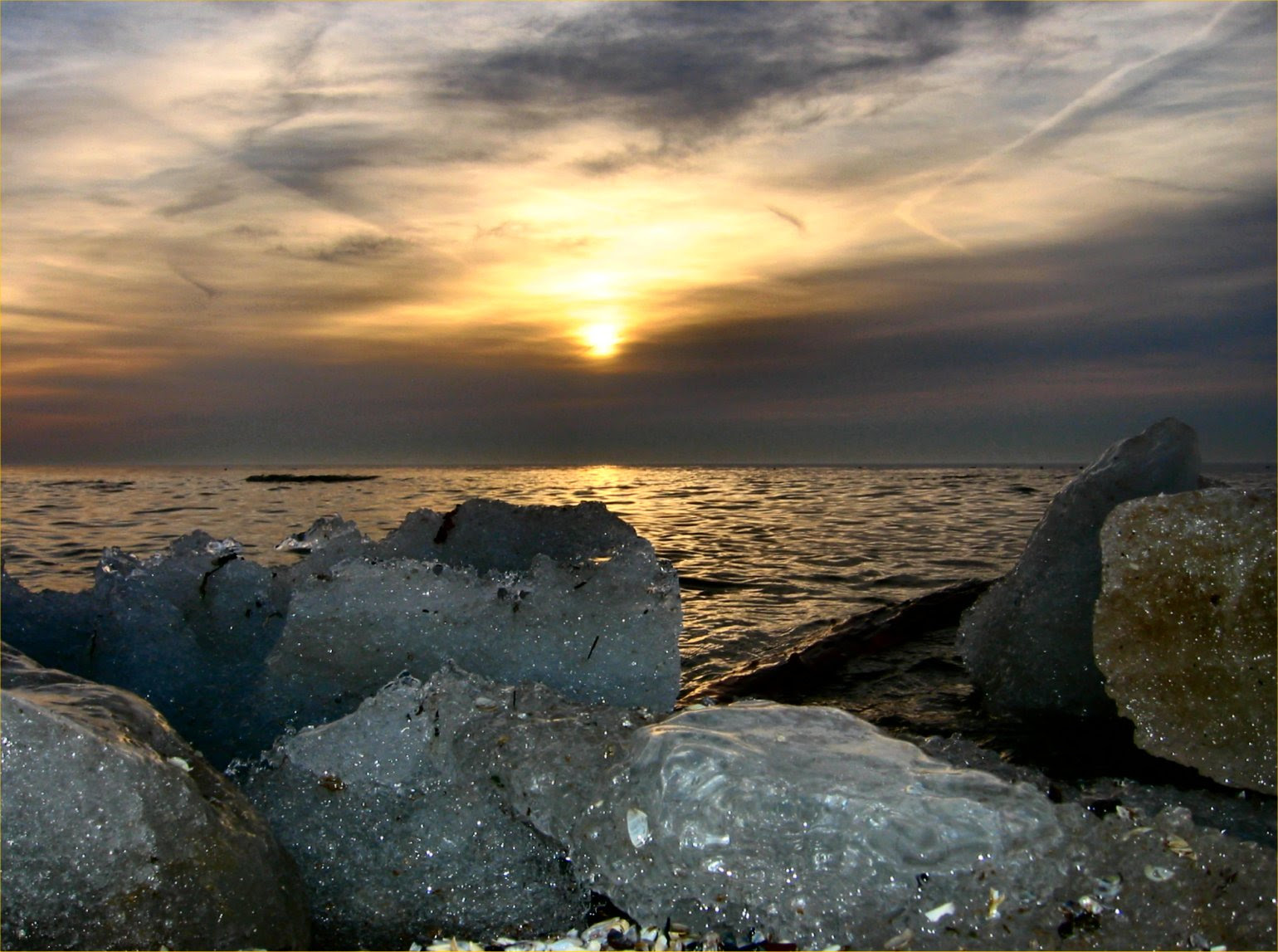 Natural Lake Michigan Ice Sculptures at Sunrise
