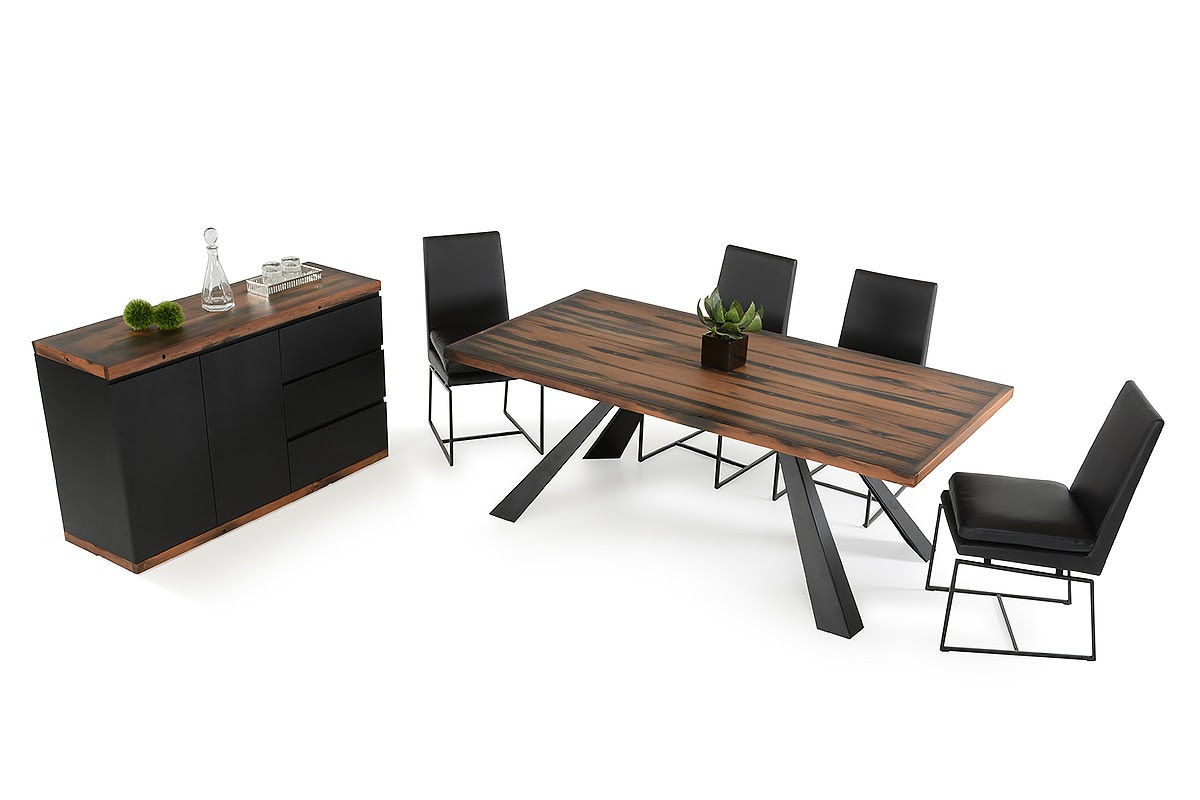 Modern Recycled Ship Wood Dining Table with Black Metal Legs Phoenix Arizona VIGNorseCadre