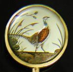 Victorian pheasant reverse intaglio stickpin. (J9246)