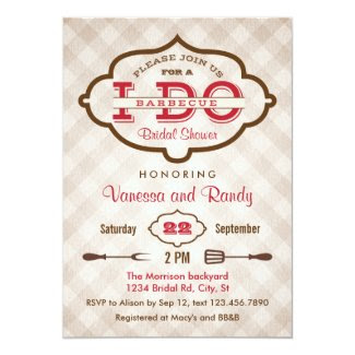 "Vintage Plaid I Do BBQ Bridal Shower Invitation 5"" X 7"" Invitation Card"