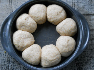Simple Bread Rolls in Pan After Rising
