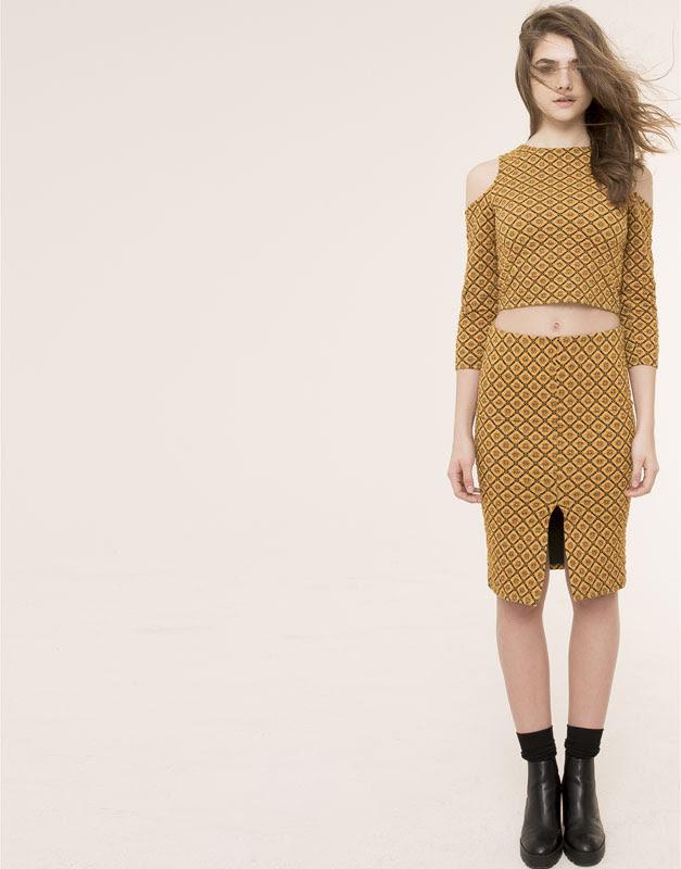 Pull&Bear - mujer - total look - falda jacquard geométrico - mostaza - 09398350-I2015