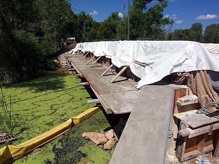 The walkway used to skirt the closed bridge