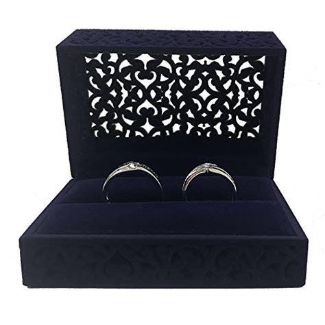 DesignSter Hollow Royal Blue Velvet Ring Box   Couple