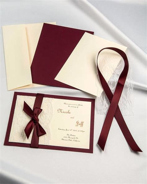 Burgundy ribbon and real lace diy invitations with cream