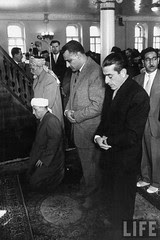 Syrian Akram Hourani (R) with Gamal Abdul Nasser in at moslem service. in Moscow in May 1958