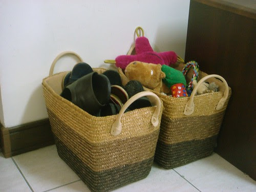 Baskets by the front door
