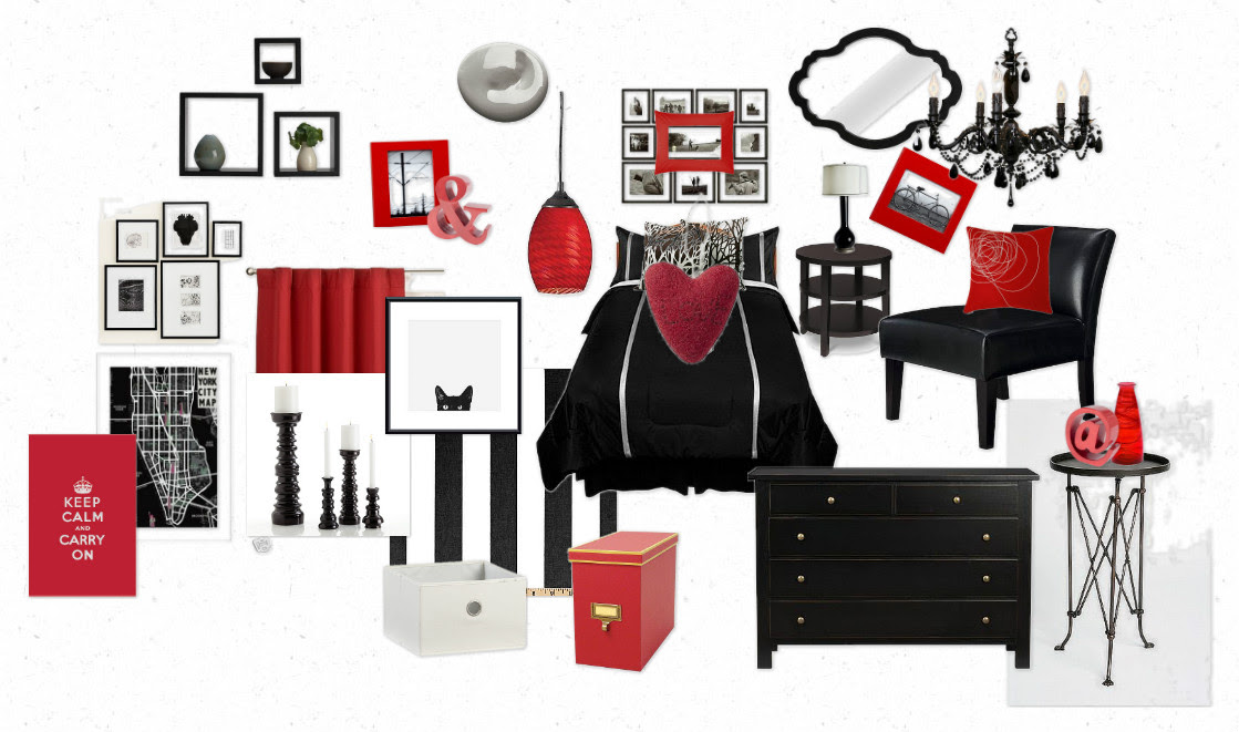 Black Red White and Grey Bedroom with Accent