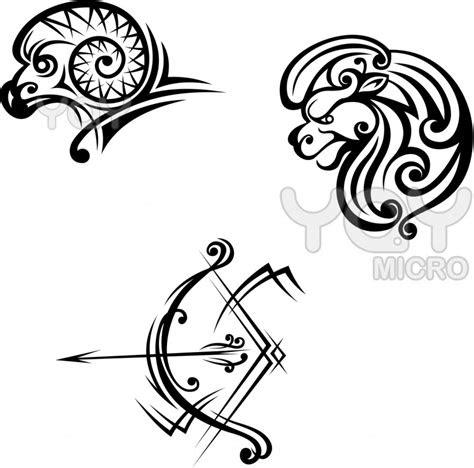 leo aries  sagittarius symbols  tattoo design ideas