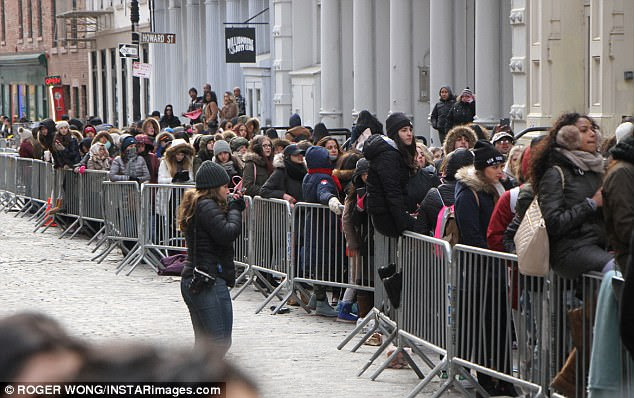 Contrast:Her little sister Kylie Jenner's pop up stores, one seen here in February on the same New York street, have often been mobbed, with security guards struggling to keep the crowds in line as they await their chance to clear the shelves