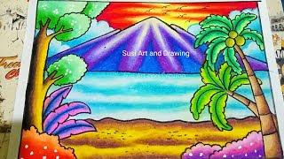 Gambar Mewarnai Pemandangan Dengan Crayon Warna Warni Gambar