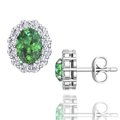 Oval Emerald and Halo Diamond Earrings in 14k Gold, Gem Studs