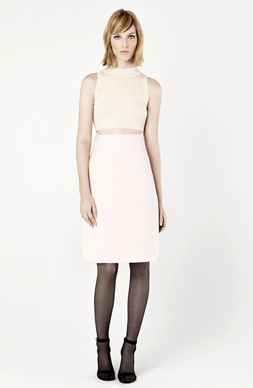 LE FASHION BLOG THE FASHION CLUB LOOKBOOK BLOGGER LULU CHANG LULU AND YOUR MOM FASHION LINE COLLECTION PASTELS KNIT SLEEVELESS CROP TOP SKIRT BLACK TIGHTS HEELS