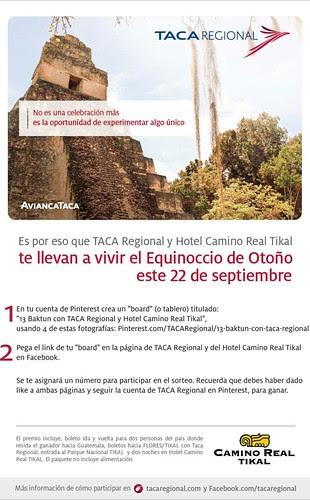 Vamos juntos a vivir el Equinoccio de Otoño este 22 de septiembre en Tikal, puedes llevar a un acompañante! Participa en este concurso gracias a Taca Regional y Hotel Camino Real Tikal