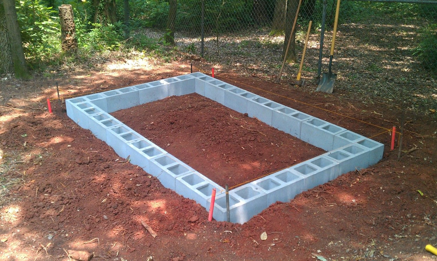 How to build a shed base with concrete blocks portable for Cement block foundation