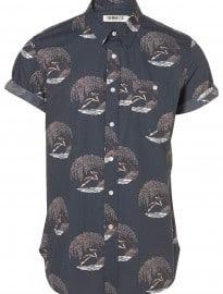 Topman Dark Blue Diver Print Shirt
