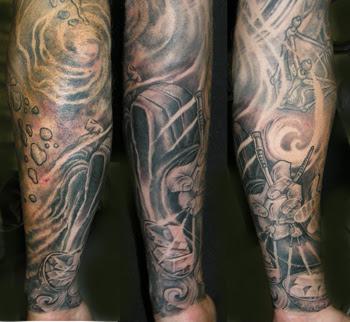 Black Tattoos on Off The Map Tattoo   Tattoos   Fantasy   Time Sleeve Forarm