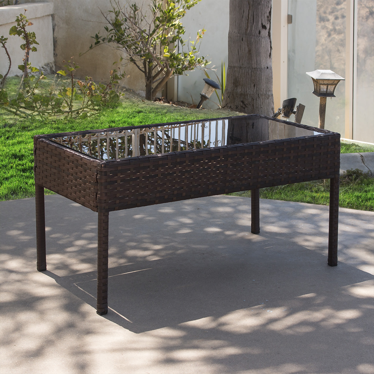 Durable 4PC Patio Furniture Set Cushioned Outdoor Wicker ...