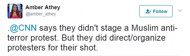 Twitter users said the protesters had been brought into shot to manipulate the story