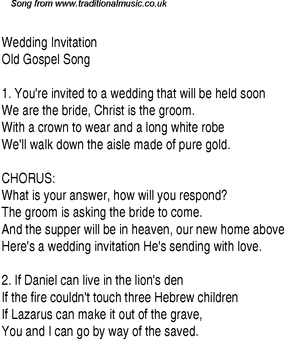 Wedding Invitation Christian Gospel Song Lyrics And Chords