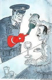 Τουρκική γελοιογραφία σχετική με τις ολοένα και μεγαλύτερες απαγορεύσεις κατανάλωσης αλκοόλ στη γείτονα χώρα.