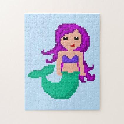 8Bit Pixel Geek Mermaid Jigsaw Puzzle