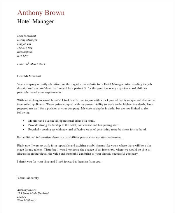 15 Job Application Letters For Manager Free Word Pdf