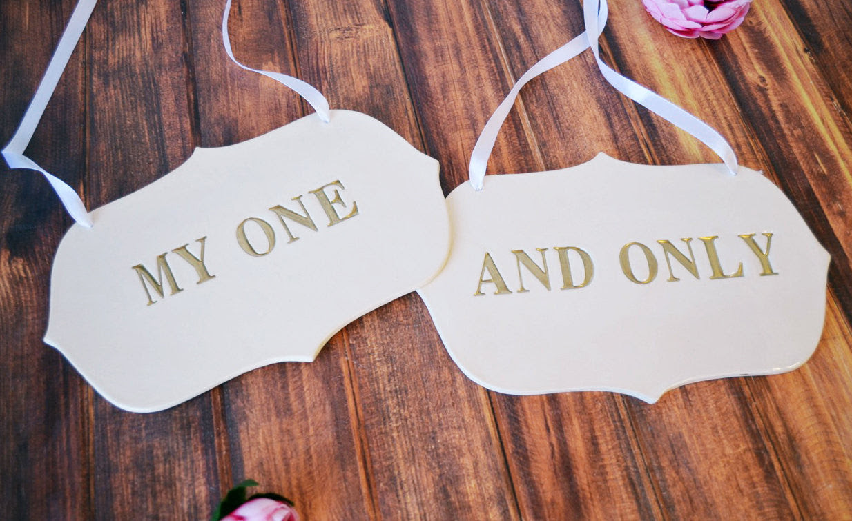 Large My One And Only Wedding Sign Set To Hang On Chair And Use As